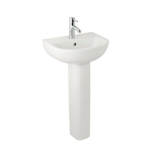 Elite Compact 450mm Basin & Full Pedestal - 2 Tap Hole